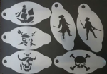 6 x Pirate & Skull themed face painting stencils
